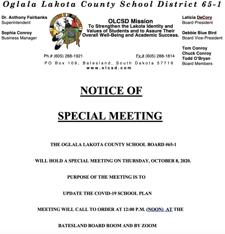 October 8, 2020 Special Board Meeting